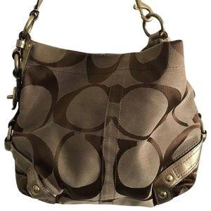 COACH Brown Jacquard Gold Detail Bag